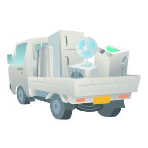 家電を積んだ軽トラック