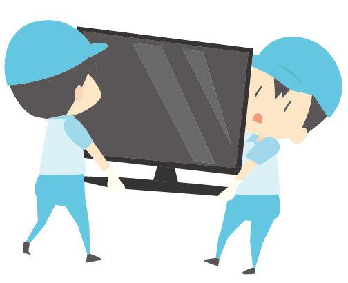 テレビを運ぶ作業員