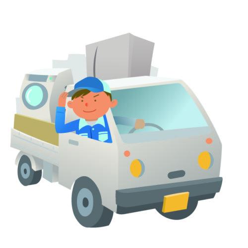 電化製品を積んだ軽トラックと作業員