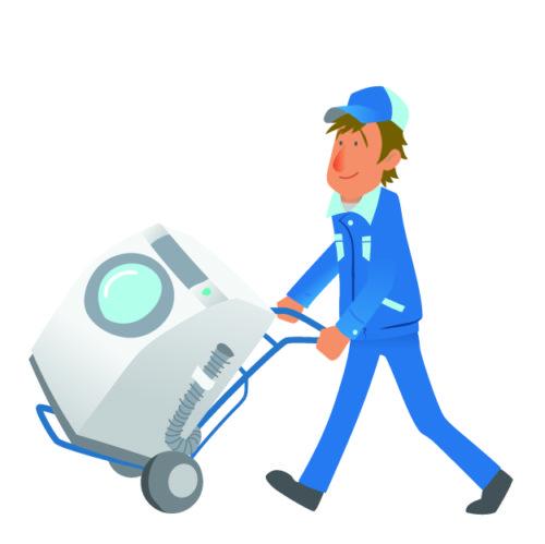 洗濯機を運ぶ作業員