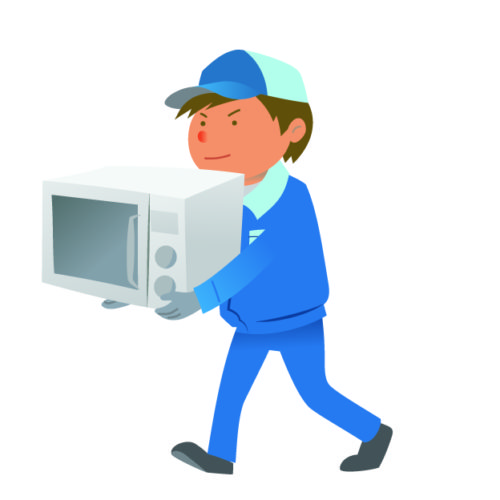 電化製品を運ぶ作業員