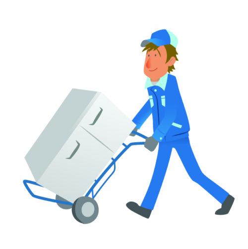 冷蔵庫を運ぶ作業員