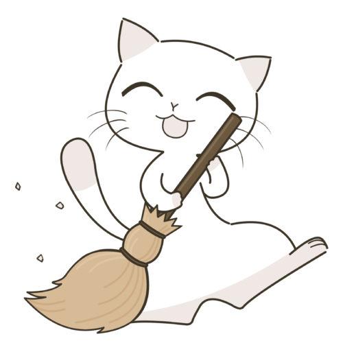 ほうきを持つ猫